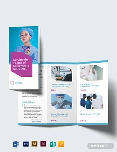 healthcare tri fold brochure template