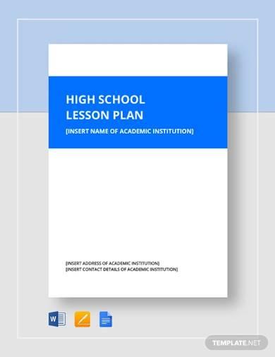 high school lesson plan template