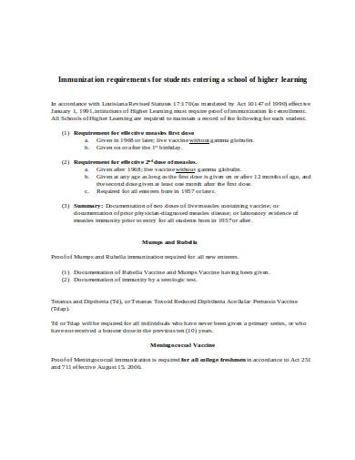 immunization requirements for student
