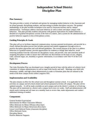 independent school district discipline plan