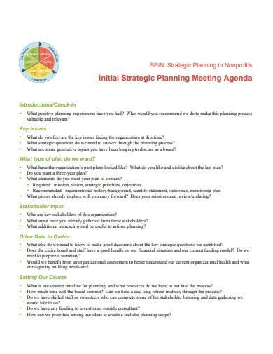 initial strategic planning meeting agenda