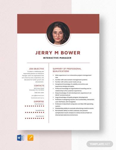 interactive manager resume template