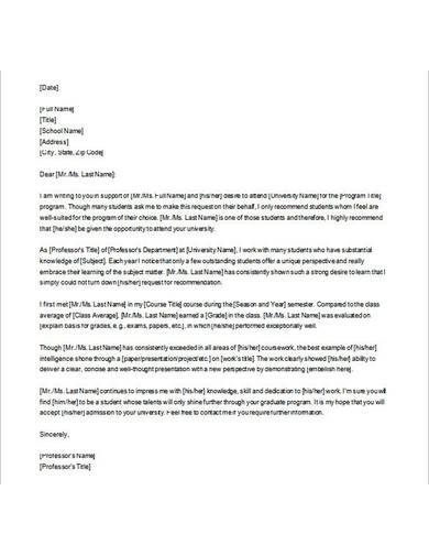 letter of recommendation for graduate school sample