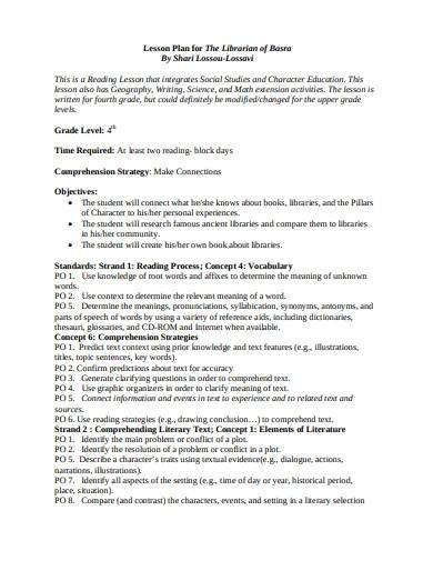 librarian lesson plan template