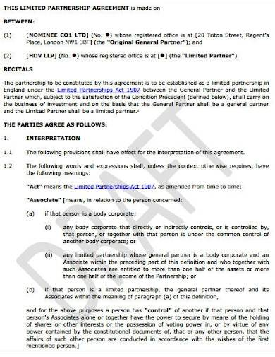 limited partnership agreement draft