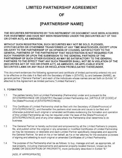 limited partnership agreement format