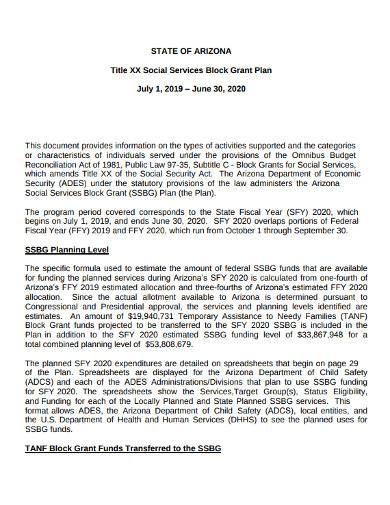 low performing block grant service plan