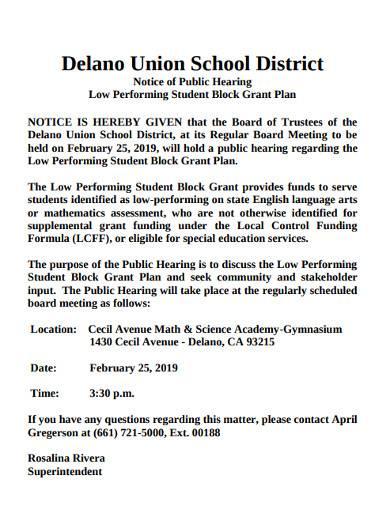 low performing student block grant plan