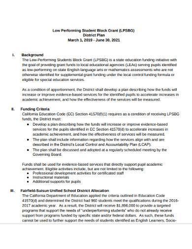 low performing student block plan template