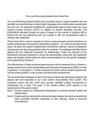 low performing students block grant plan