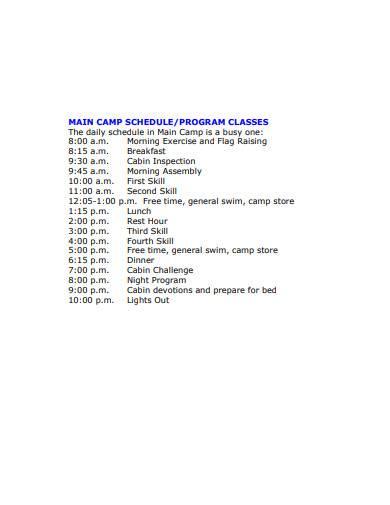 main camp daily schedule template