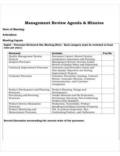 management review agenda template