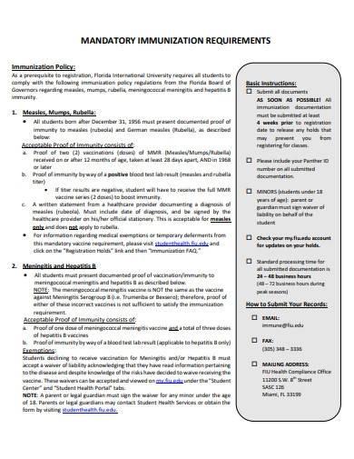 mandatory immunization requirements