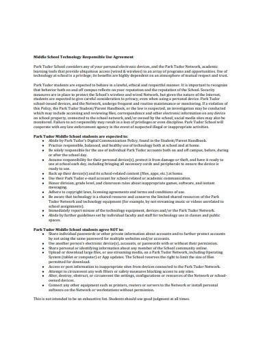 middle school technology responsible use agreement