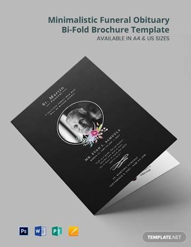 minimalistic funeral obituary bi fold brochure