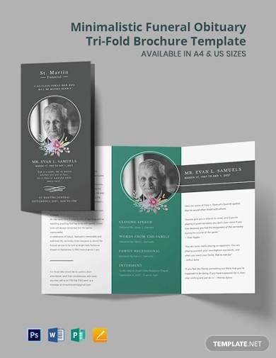 minimalistic funeral obituary tri fold brochure