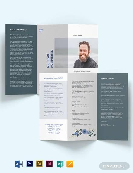 modern funeral program tri fold brochure