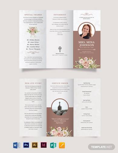 mother mom funeral obituary tri fold brochure