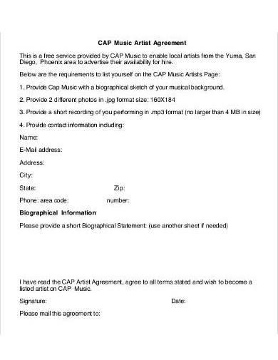 music artist agreement sample