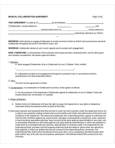 musical collaboration agreement sample