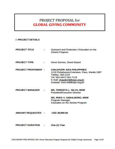 ngo project proposal format