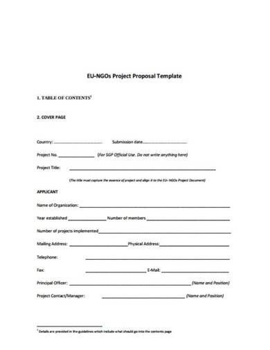 ngos project proposal template