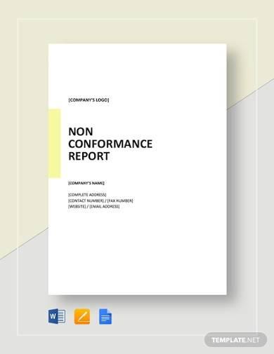 non conformance report template