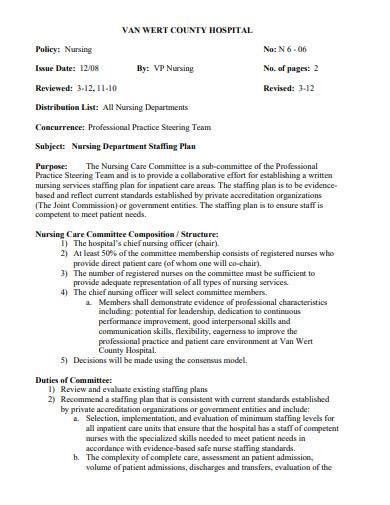 nursing department staffing plan
