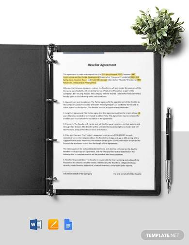 one page construction reseller agreement