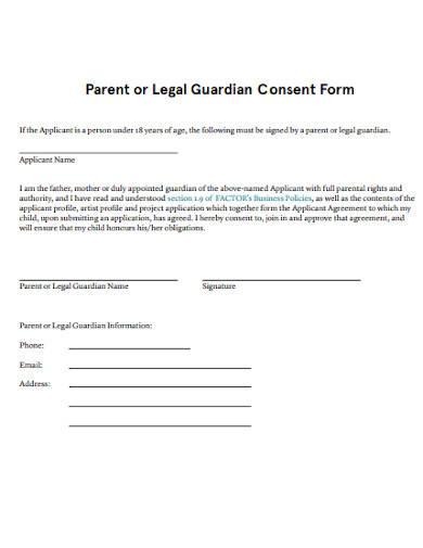 parent or legal guardian consent form