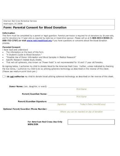 parental consent for blood donation