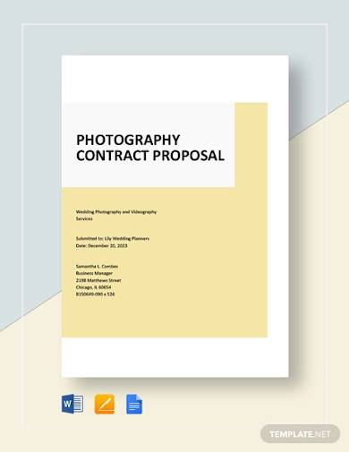 photography contract proposal sample