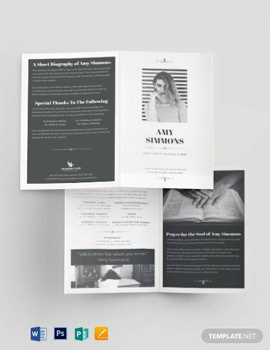 plan funeral program bi fold brochure