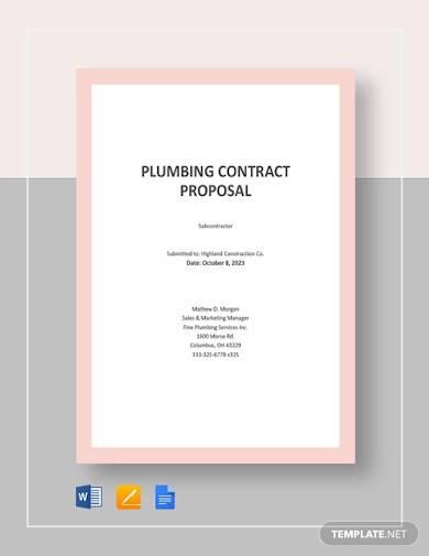 plumbing contract proposal template