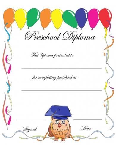 preschool diploma certificate template