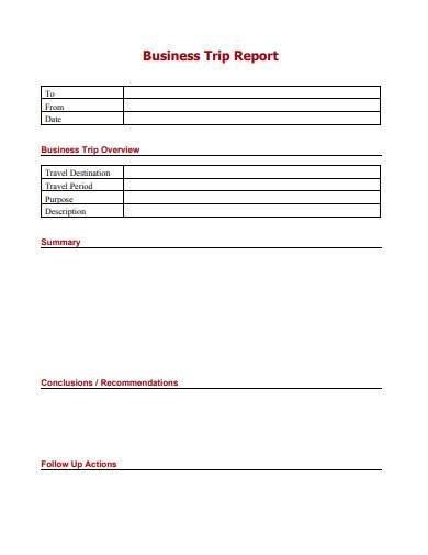 printable business trip report sample