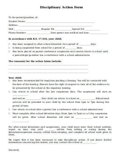 printable school disciplinary action form