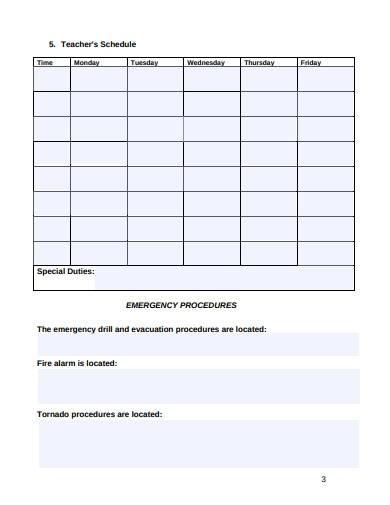 printable substitute teacher lesson plan