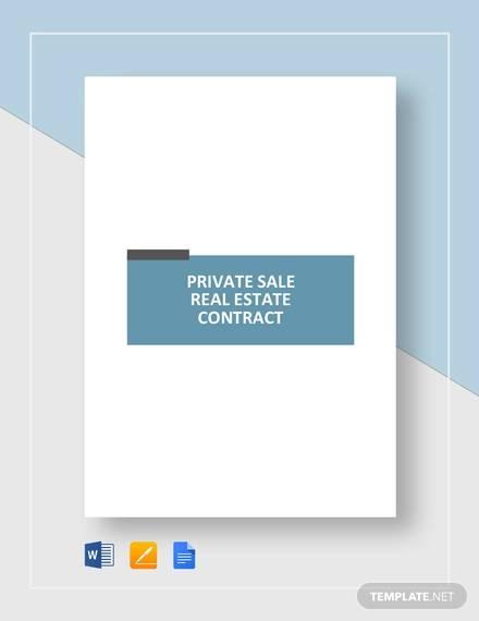 private sale real estate contract template