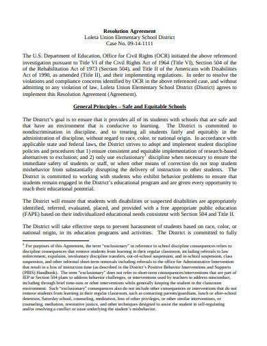 professional resolution agreement