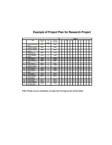 project plan for research sample