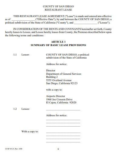proposed restaurant lease template