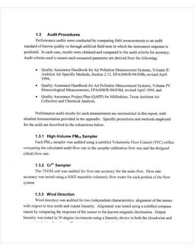 quality assurance audit report format