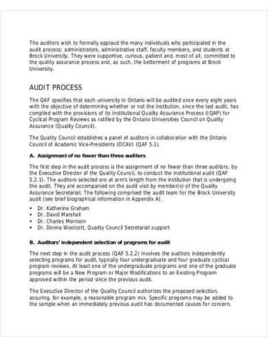 quality assurance audit report