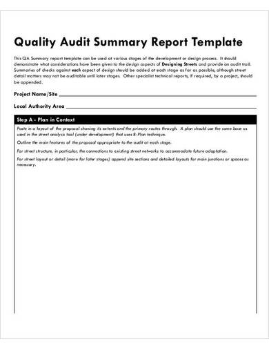 quality audit summary report template