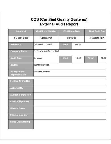 quality external audit report sample