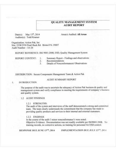 quality management system audit report