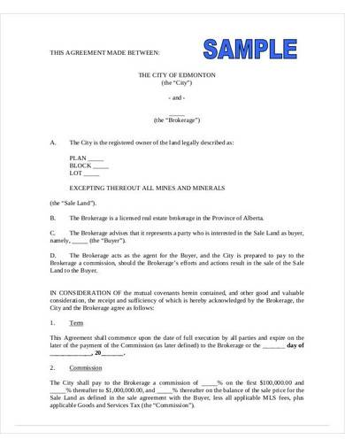 real estate agent commission agreement