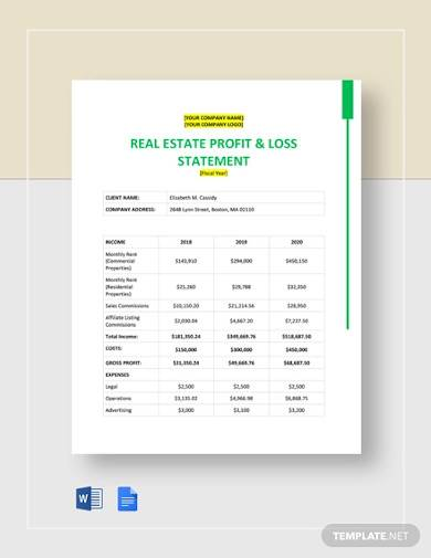 real estate financial statement template