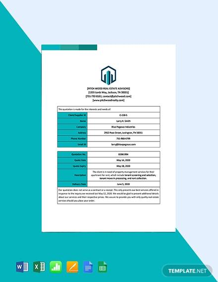 real estate service quotation template